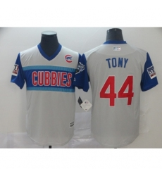 Men's Chicago Cubs #44 Anthony Rizzo Tony Authentic White Baseball Jersey