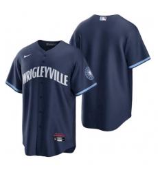 Men's Chicago Cubs Wrigleyville Navy 2021 City Connect Replica Jersey