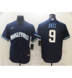 Men's Nike Chicago Cubs #9 Javier Baez Navy Royal Alternate Stitched Baseball Jersey