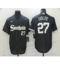 Men Chicago White Sox 27 Lucas Giolito Black With Small Number 2021 City Connect Stitched MLB Cool Base Nike Jersey