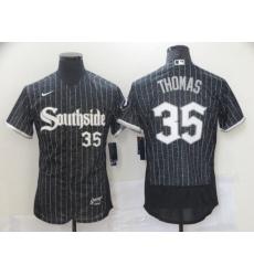 Men Chicago White Sox 35 Frank Thomas Black 2021 City Connect Stitched MLB Flex Base Nike Jersey
