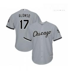 Mens Chicago White Sox 17 Yonder Alonso Replica Grey Road Cool Base Baseball Jersey