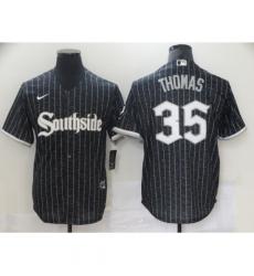 Men's Chicago White Sox #35 Frank Thomas Authentic Black Fashion Jersey