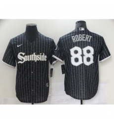 Men's Chicago White Sox #88 Luis Robert Authentic Black Fashion Jersey