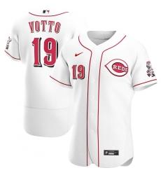 Men Cincinnati Reds 19 Joey Votto Men Nike White Home 2020 Flex Base Player MLB Jersey
