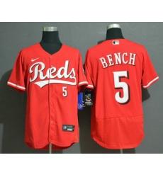 Men Cincinnati Reds 5 Johnny Bench Red Stitched MLB Flex Base Nike Jersey
