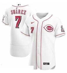 Men Cincinnati Reds 7 Eugenio Suarez Men Nike White Home 2020 Flex Base Player MLB Jersey