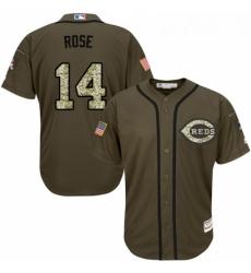 Youth Majestic Cincinnati Reds 14 Pete Rose Replica Green Salute to Service MLB Jersey