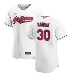 Men Cleveland Indians 30 Tyler Naquin Men Nike White Home 2020 Flex Base Team MLB Jersey