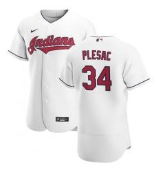 Men Cleveland Indians 34 Zach Plesac Men Nike White Home 2020 Flex Base Team MLB Jersey