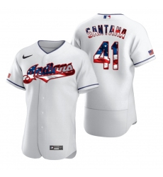 Men Cleveland Indians 41 Carlos Santana Men Nike White Fluttering USA Flag Limited Edition Flex Base MLB Jersey