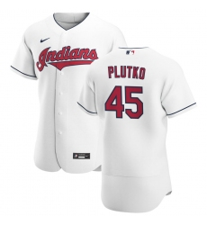 Men Cleveland Indians 45 Adam Plutko Men Nike White Home 2020 Flex Base Team MLB Jersey