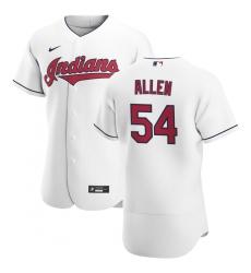 Men Cleveland Indians 54 Logan Allen Men Nike White Home 2020 Flex Base Team MLB Jersey