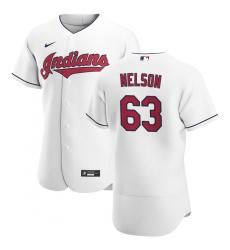 Men Cleveland Indians 63 Kyle Nelson Men Nike White Home 2020 Flex Base Team MLB Jersey