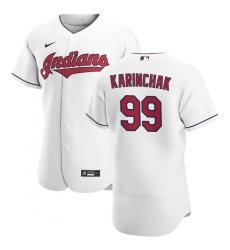 Men Cleveland Indians 99 James Karinchak Men Nike White Home 2020 Flex Base Team MLB Jersey