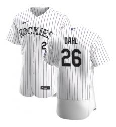 Men Colorado Rockies 26 David Dahl Men Nike White Home 2020 Flex Base Player MLB Jersey