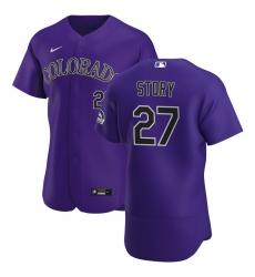 Men Colorado Rockies 27 Trevor Story Men Nike Purple Alternate 2020 Flex Base Player MLB Jersey