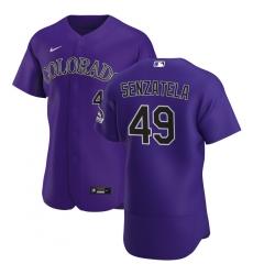 Men Colorado Rockies 49 Antonio Senzatela Men Nike Purple Alternate 2020 Flex Base Player MLB Jersey