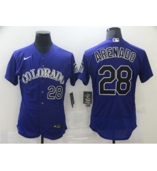 Men Nike Colorado Rockies 28 Nolan Arenado Nike Alternate 2020 MLB Player Jersey Purple