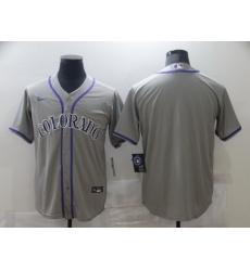 Men Nike Colorado Rockies grey Stitched MLB Blank Cool Base Jersey