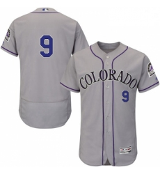 Mens Majestic Colorado Rockies 9 DJ LeMahieu Grey Road Flex Base Authentic Collection MLB Jersey