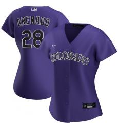 Colorado Rockies 28 Nolan Arenado Nike Women Alternate 2020 MLB Player Jersey Purple