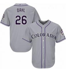 Youth Majestic Colorado Rockies 26 David Dahl Authentic Grey Road Cool Base MLB Jersey