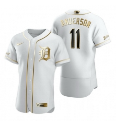 Detroit Tigers 11 Sparky Anderson White Nike Mens Authentic Golden Edition MLB Jersey