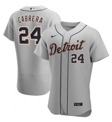 Men Detroit Tigers 24 Miguel Cabrera Men Nike Gray Road 2020 Flex Base Player MLB Jersey