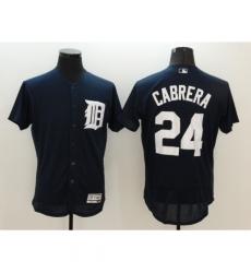 Men's Detroit Tigers #24 Miguel Cabrera Navy Blue Alternate Flex Base Authentic Jersey