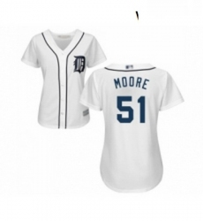 Womens Detroit Tigers 51 Matt Moore Replica White Home Cool Base Baseball Jersey