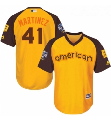 Youth Majestic Detroit Tigers 41 Victor Martinez Authentic Yellow 2016 All Star American League BP Cool Base MLB Jersey