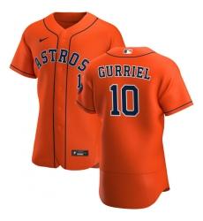 Men Houston Astros 10 Yuli Gurriel Men Nike Orange Alternate 2020 Flex Base Team MLB Jersey