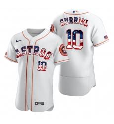 Men Houston Astros 10 Yuli Gurriel Men Nike White Fluttering USA Flag Limited Edition Flex Base MLB Jersey