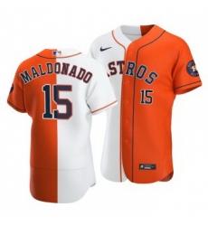 Men Houston Astros 15 Martin Maldonado Split White Orange Two Tone Jersey