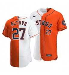 Men Houston Astros 27 Jose Altuve Split White Orange Two Tone Jersey