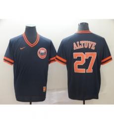 Men's Nike Houston Astros #27 Jose Altuve Navy Cooperstown Collection Jersey