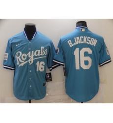 Men Kansas City Royals Bo Jackson 16 Throwback Light Blue Jersey