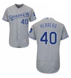 Mens Majestic Kansas City Royals 40 Kelvin Herrera Grey Road Flex Base Authentic Collection MLB Jersey