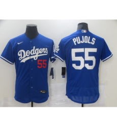 Men Los Angeles Dodgers Albert Pujols 55 Blue Nike Road Flex Base Authentic Collection Baseball Jersey