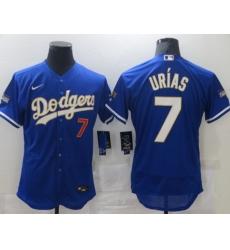 Men Los Angeles Dodgers Julio Urias 7 Championship Gold Trim Blue Limited All Stitched Flex Base Jersey