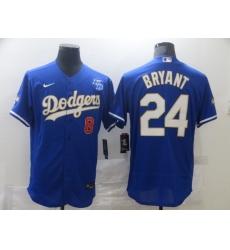 Men Los Angeles Dodgers Kobe Bryant 8 24 Championship Gold Trim Blue Limited All Stitched Flex Base Jersey
