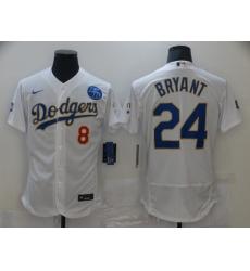 Men Los Angeles Dodgers Kobe Bryant 8 24 Championship Gold Trim White Limited All Stitched Flex Base Jersey