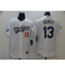 Men Los Angeles Dodgers Max Muncy 13 Championship Gold Trim White Limited All Stitched Flex Base Jersey