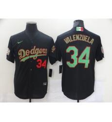 Men Los Angeles Dodgers Mexican Fernando Valenzuela 34 World Series Black MLB Jersey