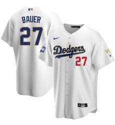 Men Los Angeles Dodgers Trevor Bauer 27 Championship Gold Trim White Limited All Stitched Flex Base Jersey