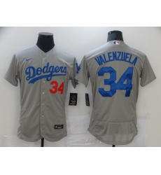 Men Nike Los Angeles Dodgers Fernando Valenzuela 34 Gray 2020 Nike Cool Base Jersey