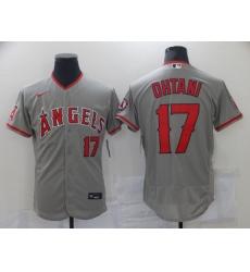 Men Los Angeles Angels 17 Shohei Ohtani Men Nike Gray Home 2020 Flex Base Player MLB Jersey