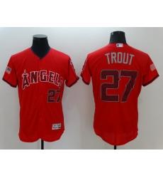 Men Los Angeles Angels 27 Trout Red Elite 2021 MLB Jersey