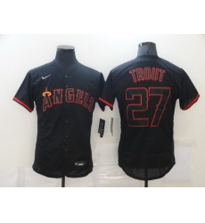 Men Los Angeles Angels of Anaheim 27 Mike Trout Lights Out Black Fashion Flexbase Nike Jersey